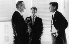 From left: Senator Lyndon B. Johnson, Robert F. Kennedy and President John F. Kennedy in the White House, just prior to the announcement that Johnson had been chosen as Vice President. 1960.