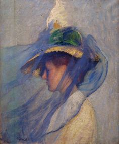 The Blue Veil. Edmund Tarbell. 1898. At the de Young Museum in San Francisco California