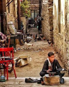 Shoe shine kids on the streets of Aswan Egypt