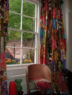 Vintage Vixen: patchwork curtains.