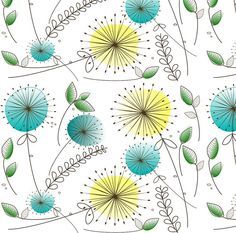 Mid-Century Modern Fabric Mid-Century Dandelion by Spoonflower