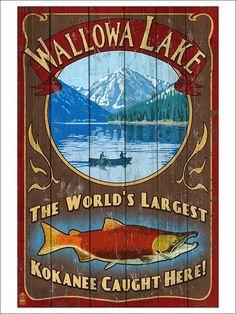 Amazon.com: Wallowa Lake, Oregon - Vintage Sign (12x18 Art Print, Wall Decor Poster): Artwork