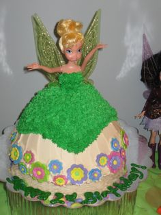 Tinkerbell Cake - by me! Made with Wilton doll cake mold, pound cake & buttercream frosting - bought Tink doll so my daughter could play with later!
