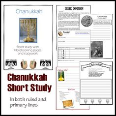 Chanukkah/Hanukkah Notebooking Pages and Copywork along with a short history.