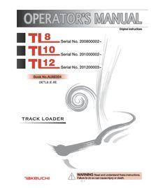 TAKEUCHI TL8 TL10 TL12 COMPACT TRACK LOADER OPERATORS MANUAL AU8E004