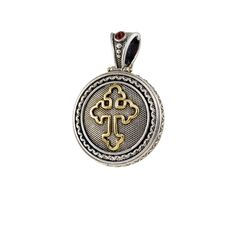 Pendant in Gold and Sterling Silver Byzantine, Garnet, 18k Gold, Gems, Pendants, Sterling Silver, Handmade, Jewelry, Granada