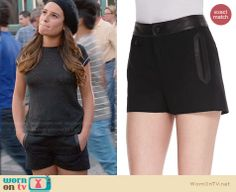 Rachel's black leather trimmed shorts on Glee.  Outfit Details: http://wornontv.net/32469/ #Glee