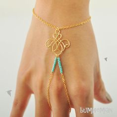 SALE 10% SHOP // Cable Chain with Chandelier Wire Pendant with Turquoise Seed Beads, Wrist and Finger, Heart Chain Extension, Bracelet AU$19.88