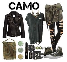 """""""Camo"""" by choice-to-be ❤ liked on Polyvore featuring Faith Connexion, Converse, Yves Saint Laurent, Terre Mère, NYX, Federica Tosi, Honora and camostyle"""