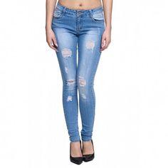 intueriecommerce.com  Pantalón Vaquero pitillo Jeans clásico Pantalón de mujer en denim, vaquero Jeans de mujer de pantalón largo super ajustados con el color azul jeans desgastado Colores: Azul desgastado Tallas: de la 34 a la 42