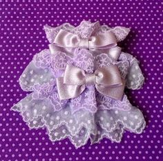 Wrist:+15-22+cm  Width:+8+cm    A+pair+of+beautiful+wrist+cuffs+made+from+high+quality+tulle+lace+in+lavender.+There+are+two+types+of+lace:+one+with+candy+and+one+with+dots.+  There+is+an+elastic+band+inside+the+lace+part,+so+it+can+stretch+nicely.    They+can+be+custiomised+with+a+charm+of+choic...