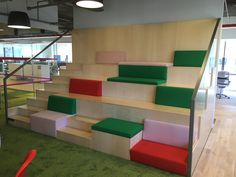 Everyone can sit in comfort and have a view with stadium seating. Great for libraries or schools! Toy Room Storage, Youth Group Rooms, Youth Decor, Bleacher Seating, Casa Loft, Stadium Seats, Built In Furniture, Office Seating, Church Design