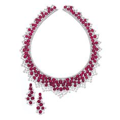 Ruby and Diamond Necklace and Pair of Matching Earrings | lot | Sotheby's
