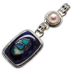 """Rough Mexican Fire Opal Sodalite Composite, Cultured Pearl 925 Sterling Silver Pendant 2 1/4"""" PD554889"""