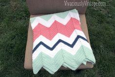 Vivaciously Vintage: EASY Beginner Chevron Crochet Baby Blanket! Only ONE Stitch to Learn!