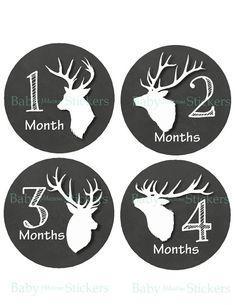 Monthly Baby Boy Deer Antler Stickers Baby Month Stickers Milestone  One Piece Bodysuit Stickers 090 Deer on Etsy, $8.95