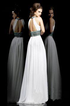 2016 Clásico Vestido de Noche Una Línea de Gasa Largo Vestido de Noche Blanco Rebordear Sin Respaldo Vestidos de Noche Por Encargo