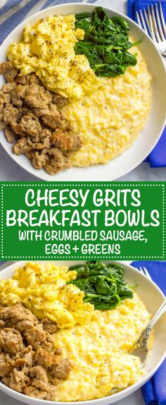 Cheesy grits breakfast bowls with sausage, scrambled eggs and spinach – Family Food on the Table Cheesy grits breakfast bowls are loaded with crumbled sausage, soft scrambled eggs and sautéed spinach for a hearty, delicious start to the day! Grits Breakfast, Breakfast Dishes, Breakfast Time, Breakfast Ideas, Breakfast Pizza, Best Breakfast Recipes, Paleo Breakfast, Brunch Recipes, Mexican Breakfast