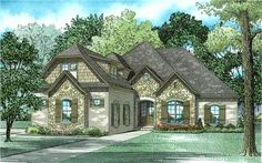View this 1 story, 4 bedroom, alluring French home plan (#153-2006) with country influences and a bonus room over garage at The Plan Collection.
