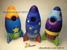 Two E Ship Rocket Birdhouse Room Decor By Vibranttrains 42 95