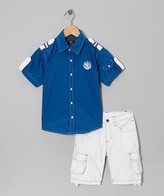 Take a look at this Royal Nautical Button-Up & Shorts - Infant, Toddler & Boys on zulily today!