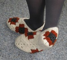 Felted granny square slippers1 by fey squirrel, via Flickr