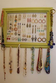 If your jewellery (like ours) ends up a tangled mess (on on the kids) consider this: a DIY jewellery storage unit! Jewellery Storage, Jewellery Display, Jewelry Organization, Diy Jewelry, Jewelery, Jewelry Making, Jewelry Holder, Earring Display, Jewelry Ideas