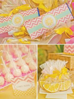 """""""Pink lemonade"""" party, both in menu items and color scheme."""
