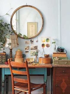 mesa tocinera - azul con sobre de madera natural