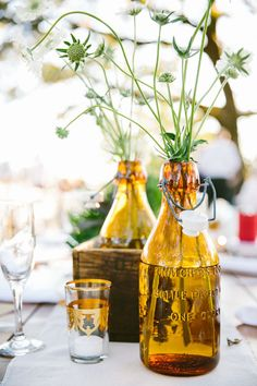 Vintage amber vessel centerpiece | Wedding & Party Ideas | 100 Layer Cake