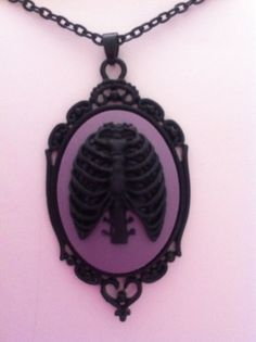 Black & Purple Ribcage Cameo Necklace goth punk by hairbowsideshow, $15.00