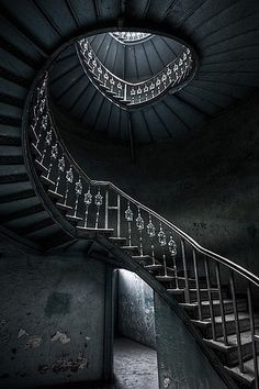 A winding staircase rose in a spiral from the center of the dilapidated mansion and I wondered what we find at the top.