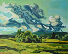 Erica Hawkes dramatic landscape paintings have a recognizable style with curved decorative lines inspired by natural forms and structures. Landscape Art, Landscape Paintings, Acrylic Paintings, Guache, Canadian Art, Unique Art, Painting Inspiration, Art Images, Art Lessons