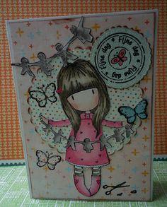 kaartje met stempel van Gorjuss girls, papier is van MME