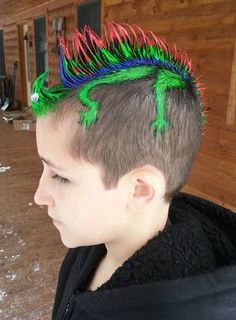 Would you let your kid try this fun hairtsyle for wacky hair day at school? Click to learn how to make this mohawk and other wacky kids' hairstyles!
