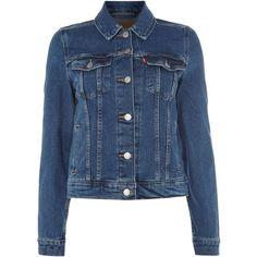 Levi's Original Trucker Jacket in night dune ($105) ❤ liked on Polyvore featuring outerwear, jackets, denim dark wash, women, blue jackets, levi jacket and trucker jacket