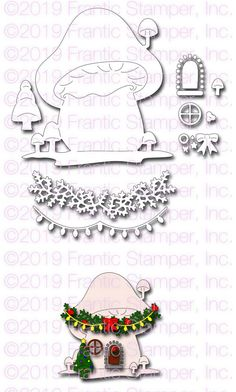 Frantic Stamper Precision Die - Gnome Home-This large set of dies includes everything you need to create a mushroom house for your favorite gnome or f Tiny Mushroom, Mushroom House, Reindeer Face, Tiny Tags, Pine Garland, Frantic Stamper, Gnome House, Card Making Supplies, Big Shot