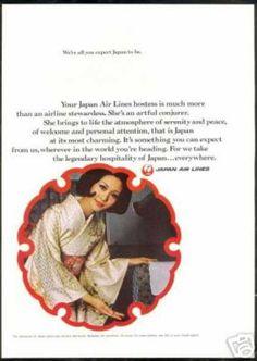 JAL Japan Airlines Hostess Stewardess Photo (1969)