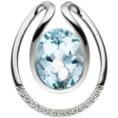 NEU Luxus Diamanten Anhänger Blautopas hellblau 585 Gold Weißgold 585er 14 Karat