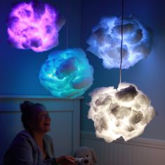 Rainbow Cloud Lamps All hail the Glow Cloud. Rainbow Cloud Lamps All hail the Glow Cloud. Glow Cloud, Rainbow Cloud, Rainbow Room, Rainbow Light, Diy And Crafts, Craft Projects, Crafts For Kids, Kids Diy, Best Diy Projects