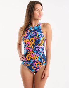 4996ac4c1e7ce Arena Cores Hi Neck One Piece - Navy and Multi Swimwear