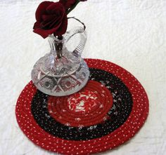 Red Black & White Fabric Coaster Candle Mat Mug by DollPatchworks, $18.00