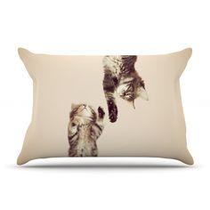 "Monika Strigel ""Upside Down"" Brown Cats Pillow Case"
