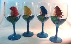 SET OF FOUR MERMAID HAND PAINTED WINE GLASSES WITH FREE PERSONALIZATION #Handmade @VinoPlease #VinoPlease