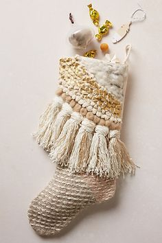 Tassel Fringe Stocking - anthropologie.com~ ♥ Shabby Chic Inspirations #shabbychic
