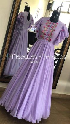 Needles n Threads, Nish*tha celebrations,Kings court avenue, Nellore ( dresses Long Dress Design, Stylish Dress Designs, Dress Neck Designs, Stylish Dresses, Women's Dresses, Indian Gowns Dresses, Pakistani Dresses, Fashion Dresses, Formal Dresses