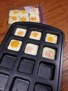Baked eggs in my pampered chef brownie pan instead if the recommended muffin tin. Put them in a freezer bag to pull out one at a time to heat for 45 sec in microwave and put on an English muffin with fresh spinach for a healthy and quick breakfast!