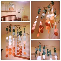 DIY nursery/crib mobile, made using this tutorial: http://iheartrunwithscissors.blogspot.com/2012/03/diy-crib-mobile-guest-blogger-sherry.html