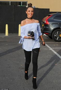567311bfd08 Blue beauty  Megan McKenna looked stylish in an off-the-shoulder blue top