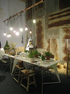 decorating with corrugated metal   ... Decorate with growing vegetables and herbs! Corrugated metal gives the